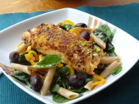 Pistachio crusted salmon and pasta salad