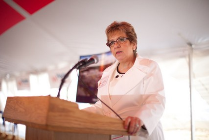 UW Hospital president and CEO Donna Katen-Bahensky addresses the gathering at the groundbreaking ceremony.