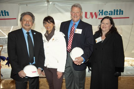 Madison Mayor Paul Soglin, Alders Shiva Bidar-Sielaff and Joseph Clausius and Delora Newton, executive vice president of the Greater Madison Chamber of Commerce, at the groundbreaking ceremony for UW Health at The American Center.