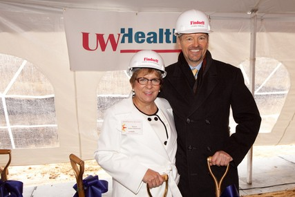UW Hospital and Clinics president and CEO Donna Katen-Bahensky and UW Health orthopedic surgeon Dr. Thomas Zdeblick at the groundbreaking ceremony.