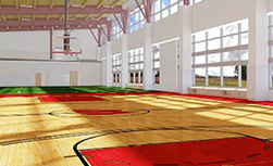 The Kohl Center replica basketball court at UW Health at The American Center