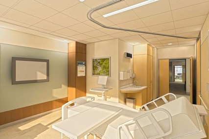 Inpatient rooms are spacious with room for family members to stay comfortably when needed. Technological features in each room will facilitate patient education, telehealth and telemedicine capabilities of the future.