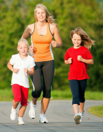 Mom and kids jogging