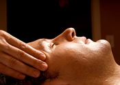 UW Health Integrative Health Healing Touch: man receiving a head massage