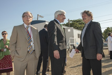 Dr. Jeffrey Grossman, President and CEO of the UW Medical Foundation, and St. Mary's Hospital president Dr. Frank Byrne chat with Madison Mayor Paul Soglin