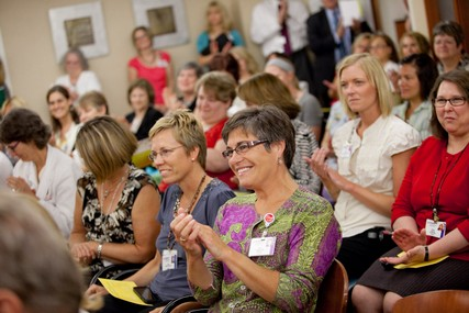 An overflow crowd packed the room for the inaugural DAISY Award ceremony at UW Hospital and Clinics.
