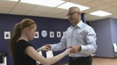 Ali Wandschneider and Dr. Tony D'Alessandro practice for the Spotlight on Life Gala.