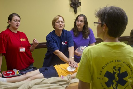 EMS workers train for their job in real-life scenarios at the EMS Olympics.