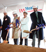 Dr. Thomas Zdeblick, Dr. Jeffrey Grossman, Donna Katen-Bahensky and Dr. Robert Golden were among the dignitaries to break ground on UW Health at The American Center.