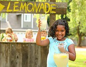 "Lily's ""Squeeze Out a Cure for Epilepsy"" fundraiser: Girl at lemonade stand"