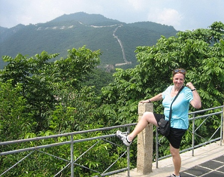 Sharon Langer at the Great Wall of China, two months after knee replacement surgery.