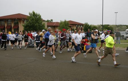 Joggers and walkers during a charity walk