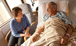 University Hospital Patient Guide visiting hours: Patient with visitor in hospital room