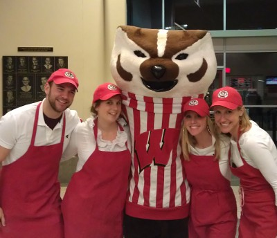 Emerging Leadership Board members with Bucky Badger