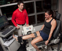 An athlete undergoes computerized strength testing to assess the strength of the injured vs. uninjured leg