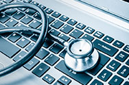 Health Information: A stethescope on a keyboard