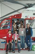 Students with MedFlight helicopter