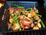 Grilled Vegetables and Italian Sausage with Apricot Sauce