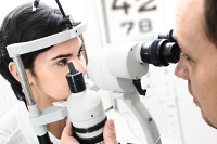Doctor and patient during eye exam