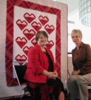 "UW Hospital and Clinics nurse Helen Martin with Nancy Zieman of the PBS show ""Sewing With Nancy"""