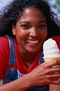 woman eating an ice cream cone