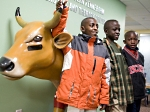 Three boys from Kenya visiting American Family Children's Hospital