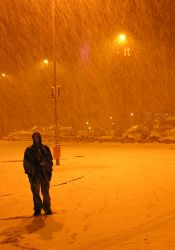Man walking in snow