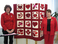 Go Red For Women Quilters Deb Loughrin and Helen Martin