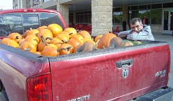 Denny Freymiller delivers pumpkins to American Family Children's Hospital