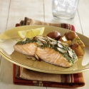 salmon with cilantro pesto; Go Red for Women heart healthy recipes