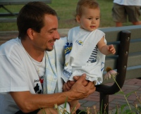 Dad and infant; Tomorrow's Hope helps raise funds for research at the UW Paul P. Carbone Comprehensive Cancer Center