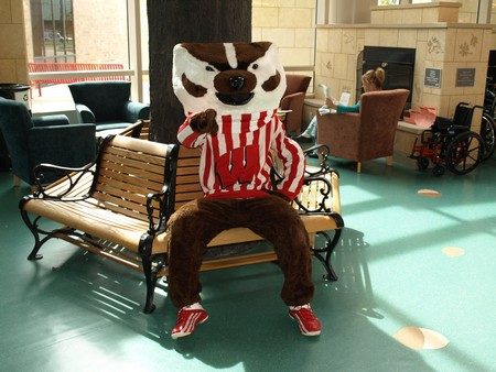 Bucky Badger rests up before heading out to meet kids at American Family Children's Hospital.