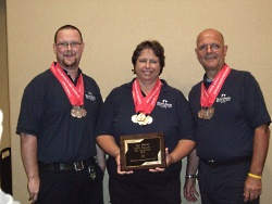 The 2010 EMS Olympic winners: Divine Savior EMS made up of team members: (Left to Right) Cody Doucette, Lynn Thornton and Bill Tierney.