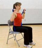 Go Red for Women exercises: seated shoulder press