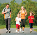 Family running for exercise