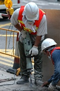 Worker with a jackhammer