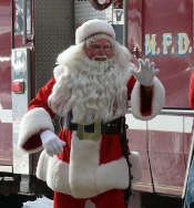 Retired Madison firefighter Dick Lindauer has played the role of Santa Claus for visits to the Children's Hospital since 1967. This year will be his final appearance.