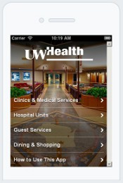 UW Health Navigator main screen