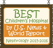 Ranked a Best Children's Hospital by U.S. News and World Report: Nephrology 2015-16
