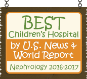 Ranked a Best Children's Hospital by U.S. News and World Report: Nephrology 2016-17