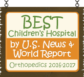 Ranked a Best Children's Hospital by U.S. News and World Report: Orthopedics 2016-17