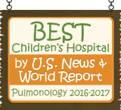 Ranked a Best Children's Hospital by U.S. News and World Report: Pulmonary 2016-17