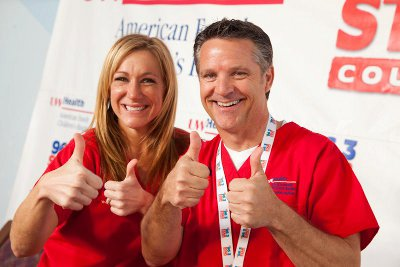 Tracy Dixon and Mike Heller from Star Country 96.3 give their first Champions for Kids Radiothon a thumbs up.