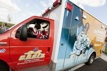 Badger vs. Cheetah? Bucky behind the wheel of our C.H.E.T.A. ambulance.