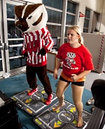 Pediatric Fitness Clinic: Teen and Bucky Badger exercising
