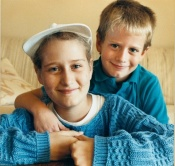Kelly with brother and bone marrow donor, Adam, in 1988