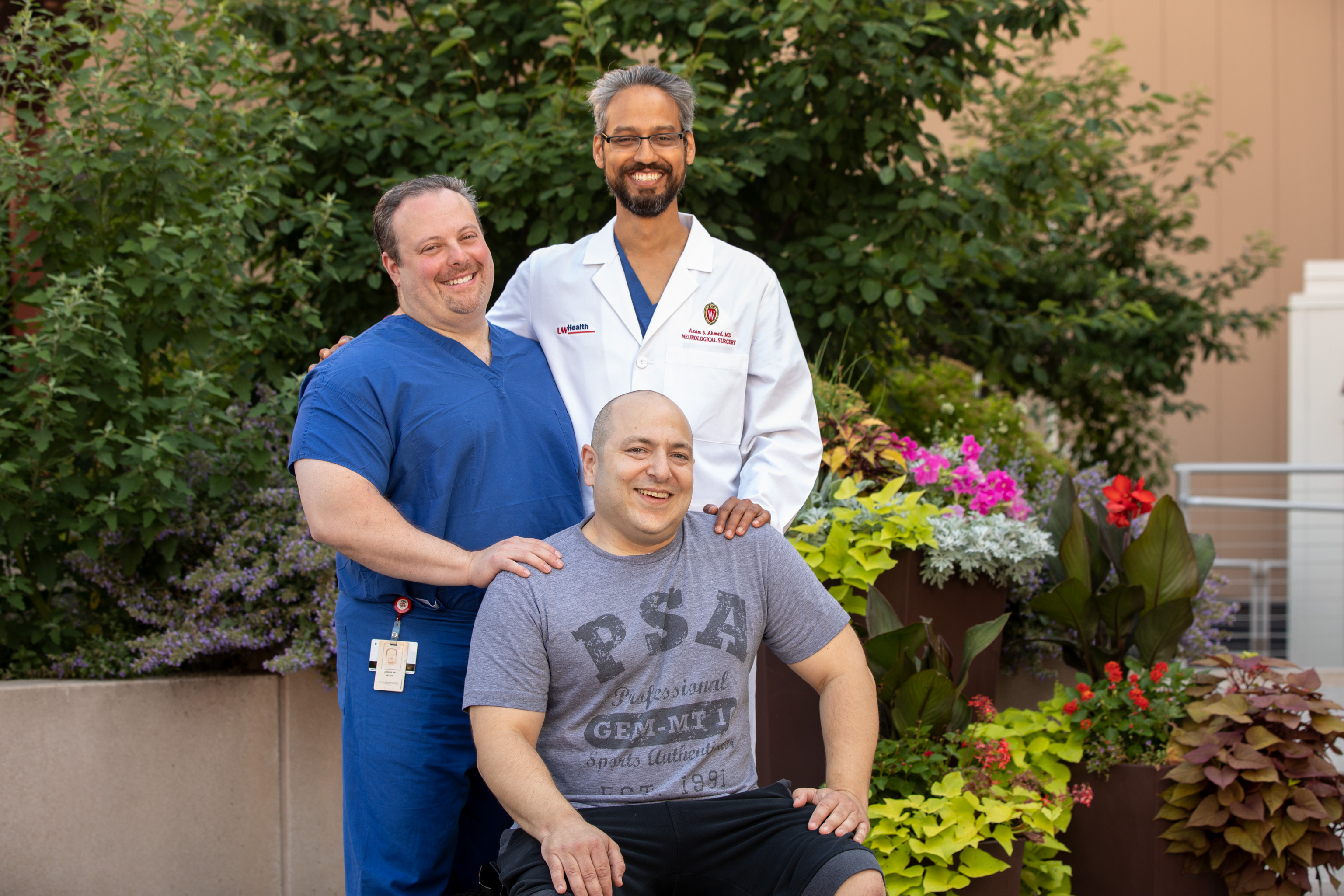 Jordan Dorf (seated) travelled from Denver to Madison to have his pituitary tumor removed