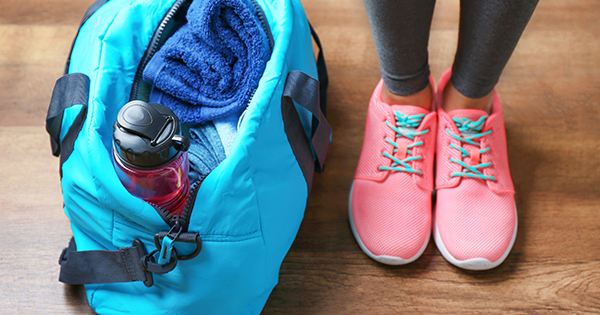 Gym bag; UW Health Fitness Center Manager staff offer tips for sticking with your New Year's fitness resolutions.