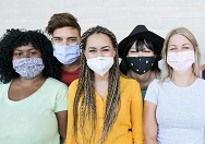 Diverse group wearing masks