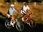 Being active with diabetes: Two people biking
